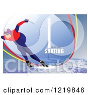 Clipart Of A Speed Skater With Text 4 Royalty Free Vector Illustration by leonid