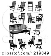 Clipart Of Silhouetted Chairs Royalty Free Vector Illustration