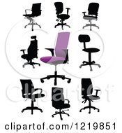 Clipart Of Silhouetted Office Chairs Royalty Free Vector Illustration