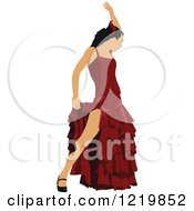 Clipart Of A Female Flamenco Dancer Royalty Free Vector Illustration by leonid