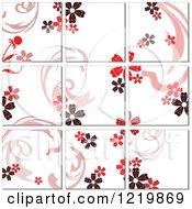 Red Floral Tile Background