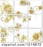 Clipart Of A Yellow Floral Tile Background Royalty Free Vector Illustration by leonid