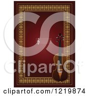 Clipart Of A Violin With Copyspace Over Red And Gold Royalty Free Vector Illustration