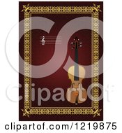 Clipart Of A Violin With Copyspace Over Red And Gold 2 Royalty Free Vector Illustration