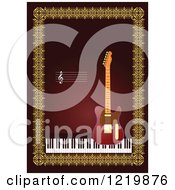 Clipart Of A Guitar And Piano With Copyspace Over Red And Gold Royalty Free Vector Illustration