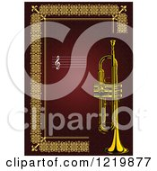 Clipart Of A Trumpet With Copyspace Over Red And Gold Royalty Free Vector Illustration