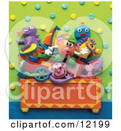 Clay Sculpture Clipart Toys Stacked In A Chest In A Play Room Royalty Free 3d Illustration by Amy Vangsgard #COLLC12199-0022