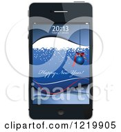 Clipart Of A Happy New Year Greeting On A Cell Phone Screen Royalty Free Vector Illustration
