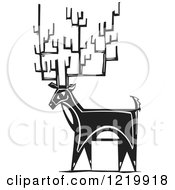 Clipart Of A Deer With Tall Antlers Woodcut In Black And White Royalty Free Vector Illustration