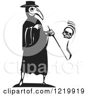Clipart Of A Bird Headed Plague Doctor With A Skull Woodcut In Black And White Royalty Free Vector Illustration
