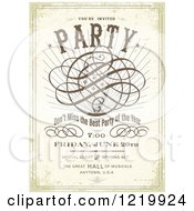 Clipart Of A Vintage Distressed Party Poster With Sample Text Royalty Free Vector Illustration by BestVector