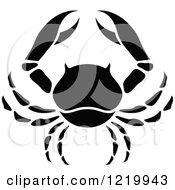 Clipart Of A Black And White Astrology Cancer Crab Zodiac Star Sign Royalty Free Vector Illustration