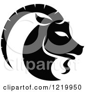 Clipart Of A Black And White Astrology Capricorn Sea Goat Zodiac Star Sign Royalty Free Vector Illustration by cidepix