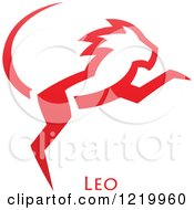 Clipart Of A Red Astrology Leo Lion Zodiac Star Sign Royalty Free Vector Illustration by cidepix