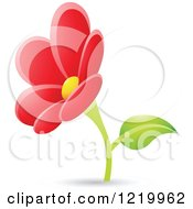 Clipart Of A Red Daisy Flower Royalty Free Vector Illustration by cidepix