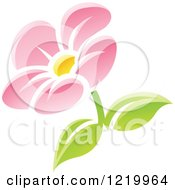 Clipart Of A Pink Daisy Flower With Green Leaves Royalty Free Vector Illustration by cidepix