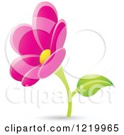 Clipart Of A Magenta Daisy Flower Royalty Free Vector Illustration by cidepix