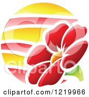 Clipart Of A Red Summer Flower Icon Royalty Free Vector Illustration by cidepix