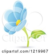 Clipart Of A Light Blue Daisy Flower Royalty Free Vector Illustration by cidepix