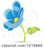 Clipart Of A Blue Daisy Flower Royalty Free Vector Illustration by cidepix
