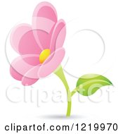 Clipart Of A Pink Daisy Flower Royalty Free Vector Illustration by cidepix