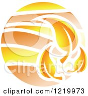 Clipart Of A Fall Autumn Leaf Icon Royalty Free Vector Illustration
