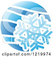 Clipart Of A Blue Snowflake Winter Icon Royalty Free Vector Illustration
