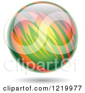 Clipart Of A Fiery Green And Orange Planet Royalty Free Vector Illustration