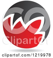 Clipart Of A Red And Black Sphere 6 Royalty Free Vector Illustration