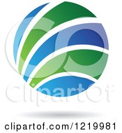 Clipart Of A Green And Blue Sphere Icon 5 Royalty Free Vector Illustration