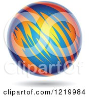 Clipart Of A Fiery Blue And Orange Planet 2 Royalty Free Vector Illustration