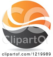 Clipart Of A Black And Orange Sphere 4 Royalty Free Vector Illustration