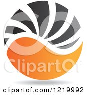 Clipart Of A Black And Orange Sphere 3 Royalty Free Vector Illustration