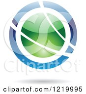 Clipart Of A Green And Blue Sphere Icon 3 Royalty Free Vector Illustration