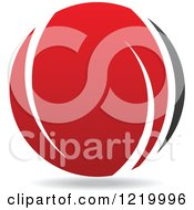 Clipart Of A Red And Black Sphere 7 Royalty Free Vector Illustration