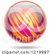 Clipart Of A Fiery Pink And Orange Planet Royalty Free Vector Illustration