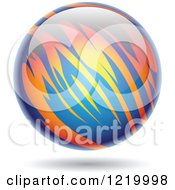 Clipart Of A Fiery Blue And Orange Planet Royalty Free Vector Illustration
