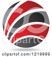Clipart Of A Red And Black Sphere Royalty Free Vector Illustration