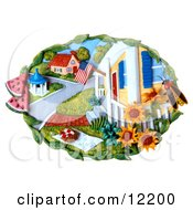 Clay Sculpture Clipart Fourth Of July Town Royalty Free 3d Illustration