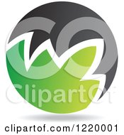 Clipart Of A Green And Black Sphere 2 Royalty Free Vector Illustration