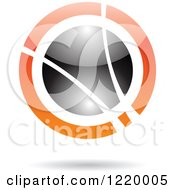 Clipart Of A Black And Orange Sphere 7 Royalty Free Vector Illustration