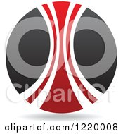 Clipart Of A Red And Black Sphere 3 Royalty Free Vector Illustration