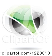 Clipart Of A Green And Black Sphere 4 Royalty Free Vector Illustration