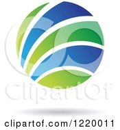 Clipart Of A Green And Blue Sphere Icon 2 Royalty Free Vector Illustration