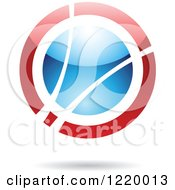 Clipart Of A Red And Blue Sphere Royalty Free Vector Illustration