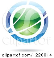 Clipart Of A Green And Blue Sphere Icon Royalty Free Vector Illustration by cidepix