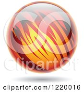 Clipart Of A Fiery Planet Royalty Free Vector Illustration
