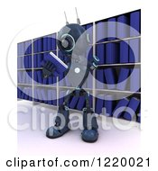 Clipart Of A 3d Blue Android Robot Reading A Book In A Library 2 Royalty Free Illustration