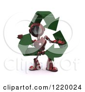 3d Red Android Robot With Recycle Arrows