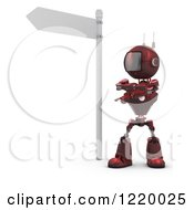Clipart Of A 3d Red Android Robot Pondering Under A Street Sign Royalty Free Illustration by KJ Pargeter